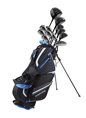 19 Piece Men's Complete Golf Club Package Set with Titanium Driver, 3 Fairway Wood, 3-4-5 Hybrids, 6-SW Irons, Putter, Stand Bag, 5 H/C's - Choose Options! (Regular Size, Special Ti-Face Driver)