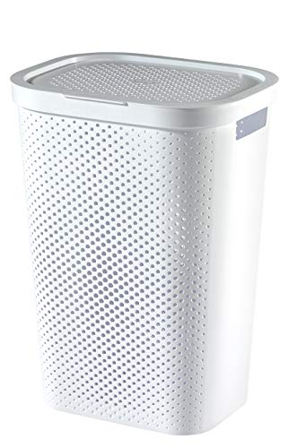 Curver 'Infinity' Laundry Box With Dot Pattern, White, 35 x 44 x 60 cm