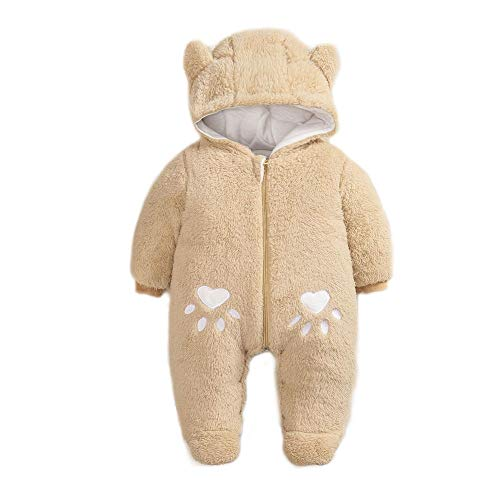 Simplee kids Baby Infant Boy Girl Winter Warm Snowsuit Outwear Newborn Hooded Footed Romper Jumpsuit for 3-6 Months Camel
