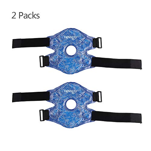 NEWGOKnee Cold Pack Wrap Hot Cold Knee Therapy Wrap for Injuries, Reusable Knee Surgery Ice Pack with Buckle & Elastic Straps for Pain Relief (Large:9.84'x 8.85') - 2 Pack