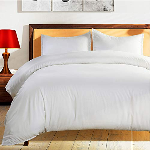 Balichun Duvet Cover Set King Size White Premium with Zipper Closure Hotel Quality Wrinkle and Fade Resistant Ultra Soft -3 Piece-1 Microfiber Duvet Cover Matching 2 Pillow Shams (White, King)