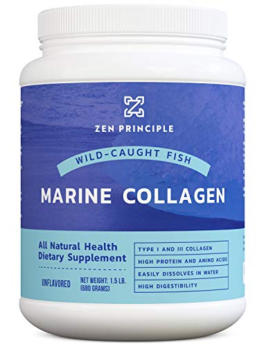 Large 24 Ounce Marine Collagen Peptides Powder. Wild-Caught Fish, Non-GMO. Supports Healthy Skin, Hair, Joints and Bones. Hydrolyzed Type 1 & 3 Protein. Amino Acids, Unflavored, Easy to Mix.1.5 lb.