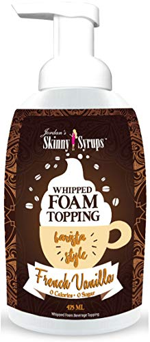 Jordan's Skinny Syrups | Sugar Free French Vanilla Whipped Foam Coffee Topping | Healthy Flavors with 0 Calories, 0 Sugar, 0 Carbs | 16oz Bottle