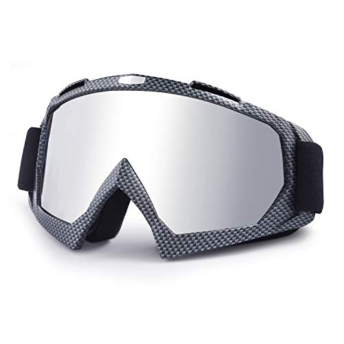 Wellovar Motorcycle Goggles,ATV Goggles Dirt Bike Ski Goggles Windproof Scratch Resistant Combat Goggles Adjustable UV Protective Safety Outdoor Glasses for Cycling, Climbing, etc (Damier)