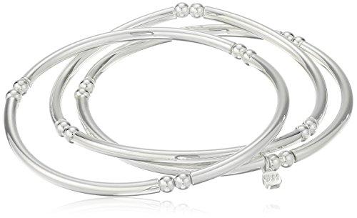 Nine West 'Classics' Silver-Tone Set of 3 Bangle Stretch Bracelet