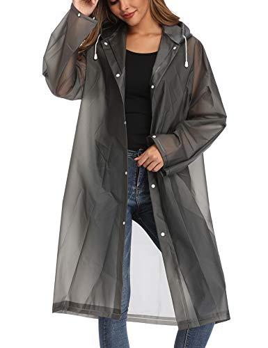 Besshopie EVA Raincoat Waterproof Rain Poncho Reusable Unisex Men Women Long Clear Rain Wear (Black Gray, L)