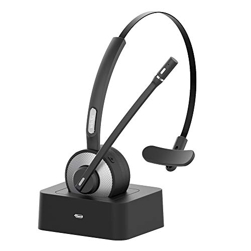 Willful M98 Wireless Headset with Microphone Charging Dock for Cell Phone Office Phone Trucker Drivers (Noise Cancelling Sound,Strong BT Signal,Quick