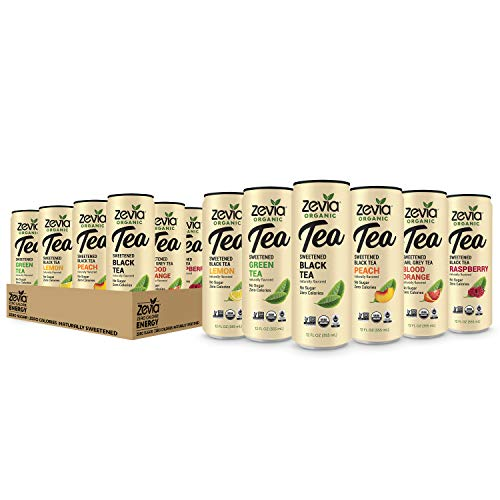 Zevia Organic Tea Time Variety Pack, 12 Count, Sugar-Free Brewed Iced Tea Beverage, Naturally Sweetened with Stevia, Zero Calories, No Artificial Sweeteners