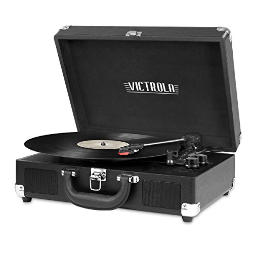 Victrola Vintage 3-Speed Bluetooth Portable Suitcase Record Player with Built-in Speakers | Upgraded Turntable Audio Sound| Includes Extra Stylus | Black