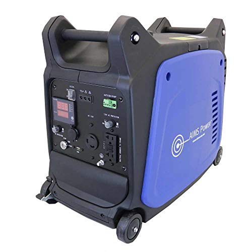 AIMS Power GEN3200W120V Portable 3200W Inverter Generator, 4 Stroke OHV 150cc 5500rpm Engine, 2800 Watt Rated Power, Recoil Starter, Electric Starter, Wheels with Brake System