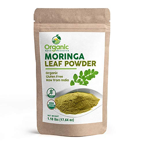 Organic Moringa Powder - 1.10 lbs (17.64 oz), Lab Tested for Heavy Metal and Purity, Resealable Bag, Non-GMO, Moringa Olifera Powder - 100% Raw from India, by OSR