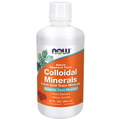 NOW Supplements, Colloidal Minerals Liquid, Plant Derived, Rasberry, 32-Ounce