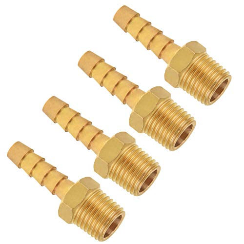 Hose Fitting, SUNGATOR Brass Hose Barb Fitting, Adapter, 1/4' Barb x 1/4' NPT Male Pipe (4-Pack)