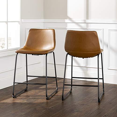 Walker Edison Furniture Company 26' Industrial Faux Leather Armless Indoor Kitchen Dining Chair Stool with Metal Legs Upholstered, Set Of 2, Whiskey Brown