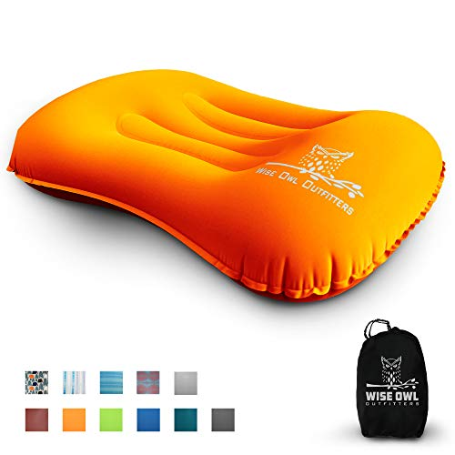 Wise Owl Outfitters Ultralight Inflatable Air Camping Pillow Compressible Compact Inflating Small Travel Pillows for Sleeping Backpacking Hammock Car Camp, Beach - Smart Push Button Air Valve –Orange