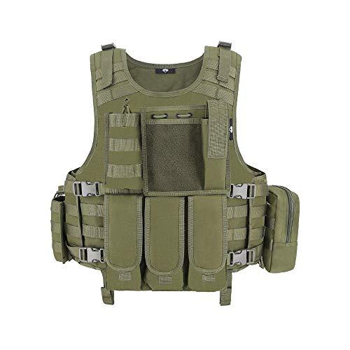 MGFLASHFORCE Tactical CS Field Vest, Airsoft Paintball Vest (Green)