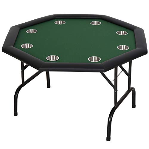 Soozier 3.9ft 8 Player Octagon Poker Table with Cup Holders Folding Green Top