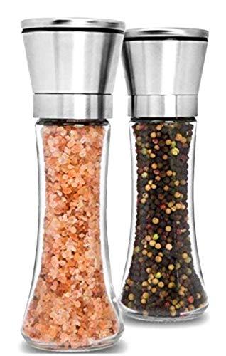 Premium Stainless Steel Salt and Pepper Grinder Set of 2 - Adjustable Ceramic Sea Salt Grinder & Pepper Grinder - Tall Glass Salt and Pepper Shakers - Pepper Mill & Salt Mill with Funnel & EBook