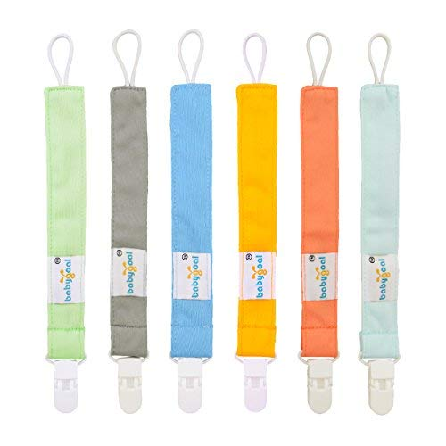 Babygoal Pacifier Clips, 6 Pack Pacifier Holder for Boys and Girls Fits Most Pacifier Styles & Baby Teething Toys and Baby Shower Gift 6PS10