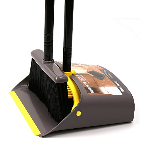TreeLen Broom and Dustpan/Dust Pan Cleans Broom Combo with Long Handle for Home Kitchen Room Office Lobby Floor Use Upright Stand up Dustpan Broom Set