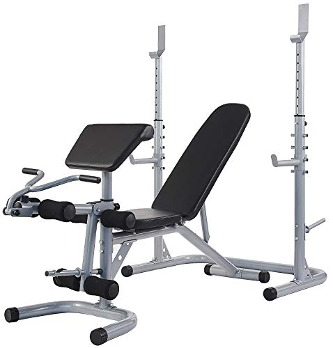 Sporzon! Multifunctional Workout Station Adjustable Olympic Workout Bench with Squat Rack, Leg Extension, Preacher Curl, and Weight Storage, 800-Pound Capacity, Gray,Model Number: RS60