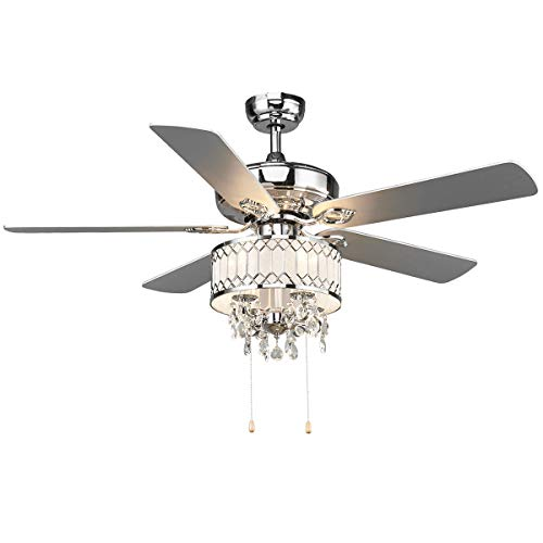 Tangkula 52' Ceiling Fan with Lights, Classical Design Crystal Ceiling Fan with Pull Chain Control, Elegant Modern Ceiling Fans with Chandeliers 5 Iron Reversible Blades, Metal Cover, Mute Motor (Silver)