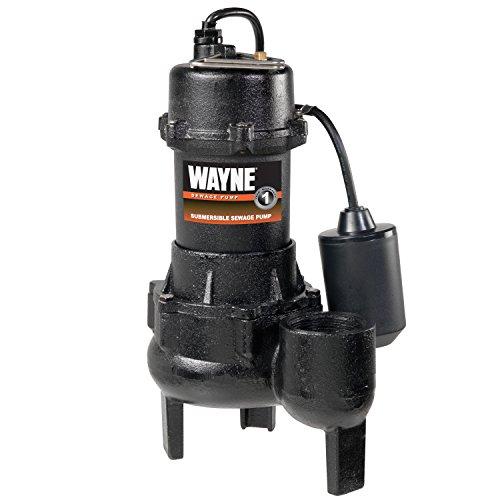 Wayne RPP50 Cast Iron Sewage Pump with Piggy Back Tether Float Switch, Black