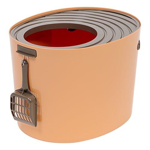 IRIS USA Medium Top Entry Cat Litter Box with Cat Litter Scoop, Orange & Brown 588067