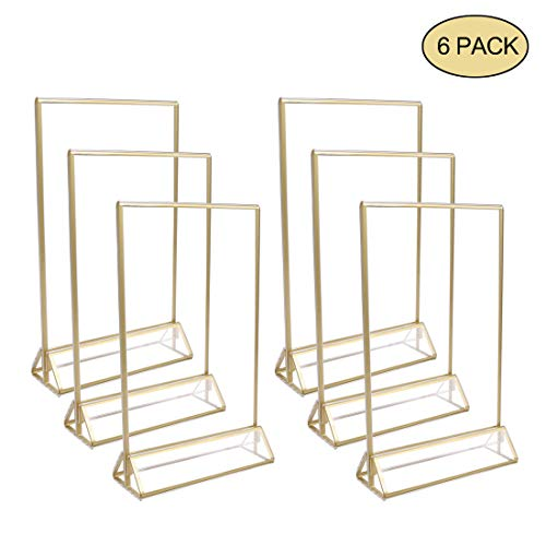 UNIQOOO Acrylic Sign Holders with Gold Border, Pack of 6 | 4x6 Double Sided Clear Frame | Perfect for Wedding Table Numbers, Photo Display, Restaurant Menu Holder, Promotion Ad