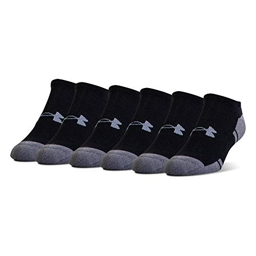 Under Armour Resistor 3.0 No Show Socks, 6-Pairs, Black/Graphite, Shoe Size: Mens 12-16