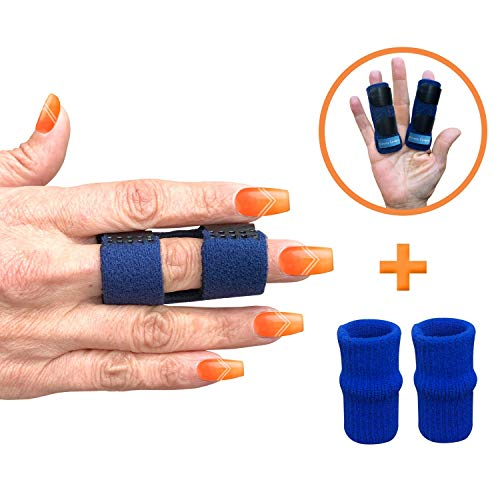 Finger Splint - Set of 2 Finger Splints With 2 Nylon Sleeves for Trigger Finger Relief - Finger Brace for Straightening or Support for Broken Fingers - 4 pieces - Ideal for Seniors