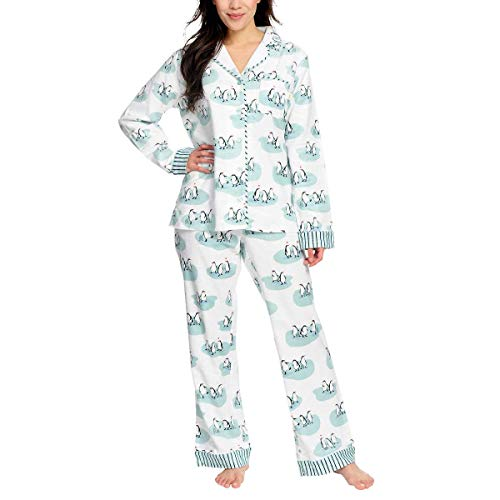 Munki Munki Ladies' Flannel PJ Set (White, XX-Large)