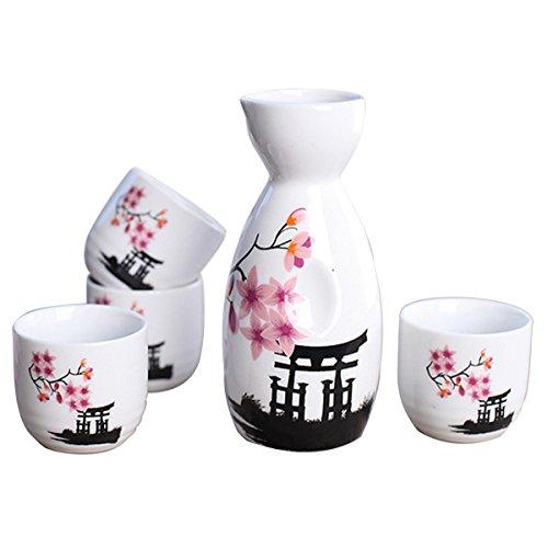 Tosnail 5 pcs Ceramic Japanese Sake Set - Pink Blossom