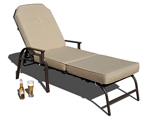 Kozyard Maya Outdoor Chaise Lounge Weather & Rust Resistant Steel Chair with Polyester Fabric Cushion for Pool, Patio, Deck or Yard (Tan)