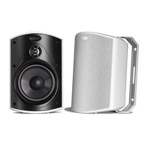 Polk Audio Atrium 5 Outdoor Speakers with Powerful Bass (Pair, White), All-Weather Durability, Broad Sound Coverage, Speed-Lock Mounting System