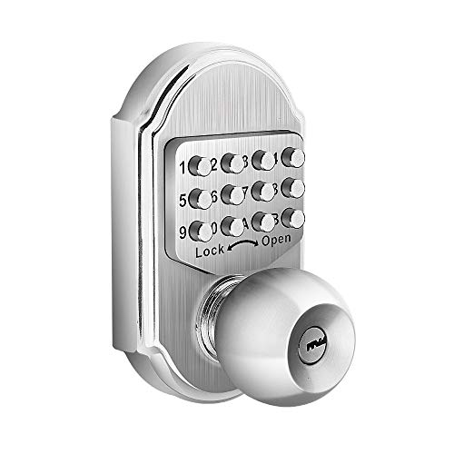 Bravex Keyless Entry Keypad Deadbolt Door Lock 304 Stainless Steel 100% Mechanical - No Risk of Low Power
