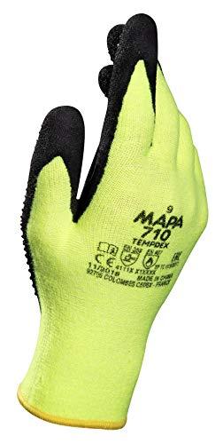 MAPA Temp-Dex 710 Nitrile Lowweight Glove, High Temperature, 10-1/4' Length, Size 7, Black/Green