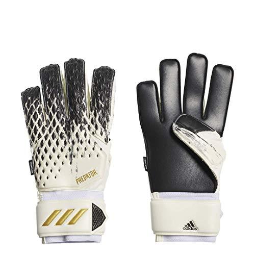 adidas unisex-adult Predator 20 Fingersave MTC Goalkeeper Gloves White/Black/Gold Metallic 8.5