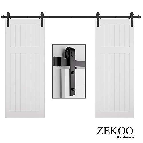 ZEKOO 14 FT Rustic Sliding Wood Barn Door Rolling Antique Hardware Flat Tracks Double Doors Kit