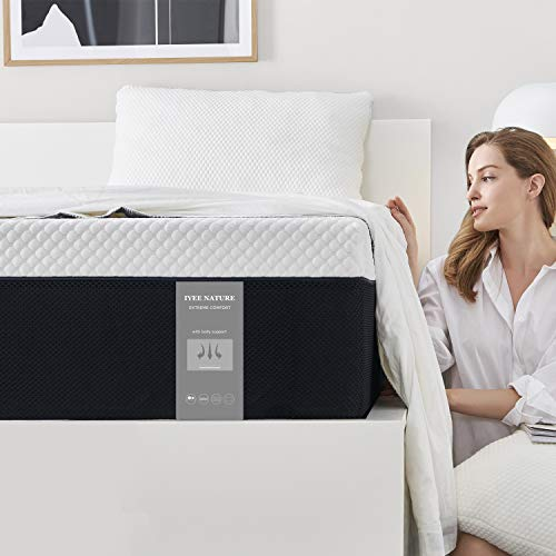 King Size Mattress, 10 Inch Iyee Nature Cooling-Gel Memory Foam Mattress Bed in a Box, Supportive & Pressure Relief with Breathable Soft Fabric Cover, Medium Firm Feel,Black