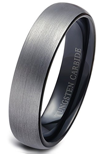 Tungary Tungsten Rings for Men Wedding Engagement Band Brushed Black 6mm Size 12.5