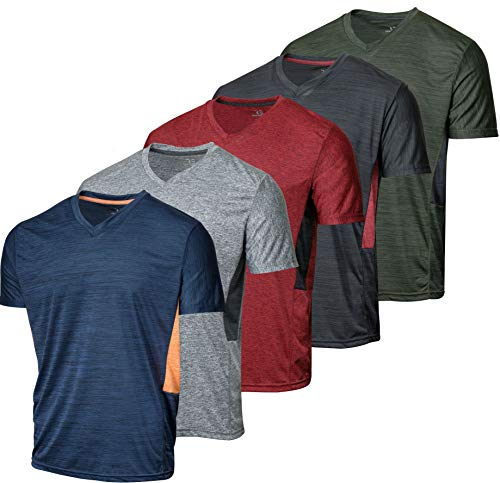 5 Pack:Men's Athletic V Neck T-Shirt Quick Dry Fit Dri-Fit Short Sleeve Active Wear Training Exercise Fitness Workout Tee Fitness Gym Workout Clothing Undershirt Sports Wicking Top-Set 4,M