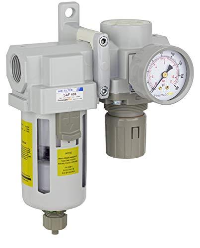 PneumaticPlus SAU420-N06G Compressed Air Filter Regulator Combo 3/4' NPT - Poly Bowl, Manual Drain, Bracket, Gauge