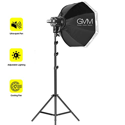 GVM 80W Continuous Output Lighting Kit, Softbox Lighting Kit with Bowens Mount, Tripod Stand, 22 inches Softbox, LED Video Light CRI97+ 5600K for YouTube, Video Recording, Wedding, Outdoor Shooting