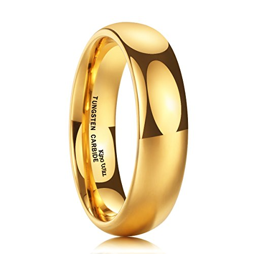 King Will Glory 6mm 24k Gold Plated High Polished Comfort Fit Domed Tungsten Ring Wedding Band 11