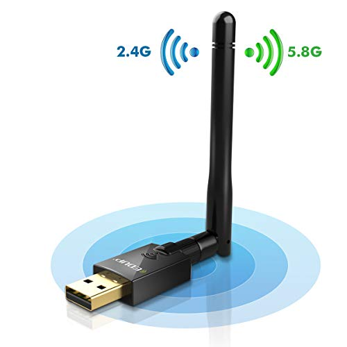 USB Wifi Adapter 600Mbps USB 2.0 Wifi Dongle 802.11 AC Wireless Network Adapter with Dual Band 2.4GHz/150Mbps+5Ghz/433Mbps 2DBI High Gain Antenna for Desktop Windows XP/Vista/7/8.1/10 Mac 10.7-10.14