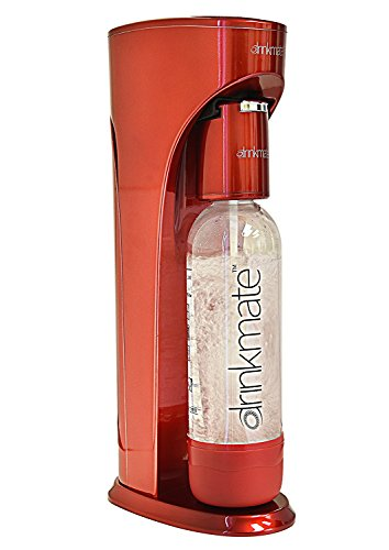 DrinkMate Sparkling Water and Soda Maker, Carbonates ANY Drink, with 1L Re-usable BPA-free Carbonating Bottle and Patented Fizz Infuser - Royal Red (Does Not Come with CO2 Cylinder)