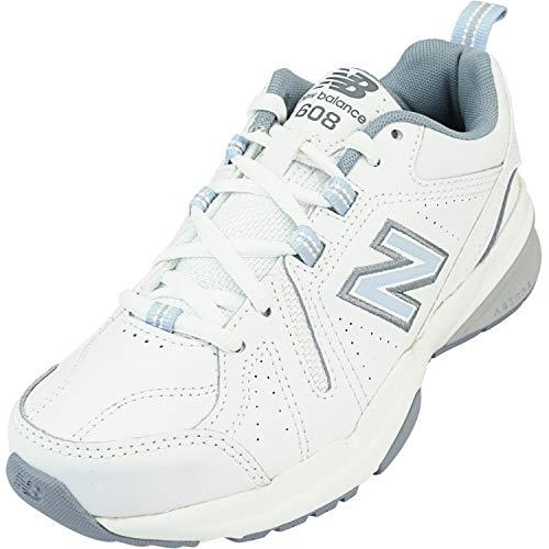 New Balance Women's 608 V5 Casual Comfort Cross Trainer, White/Light Blue, 8 M US