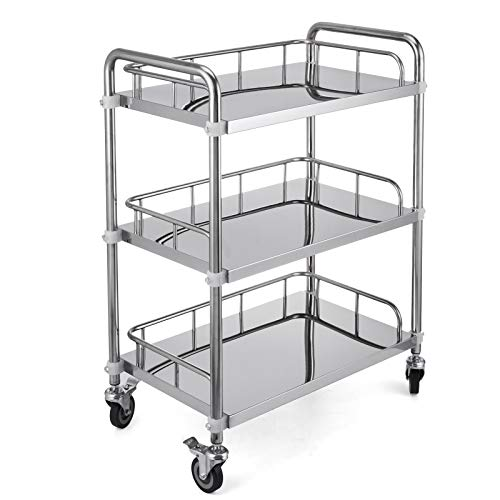 Lab Rolling Cart ;Shelf Stainless Steel Rolling Cart;Catering Utility Cart;Commercial Wheel Dolly Restaurant Dinging Utility Services (3 Shelves)