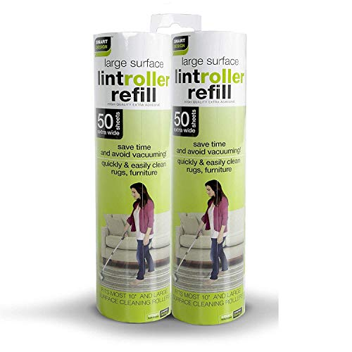 Smart Design Floor Lint Roller Refill - Easy-Peel Angled Sheet Technology - Includes 50 Adhesive Sheets - for Cleaning, Clothing, Pet Hair [2 Pack] (100 Sheets Total)